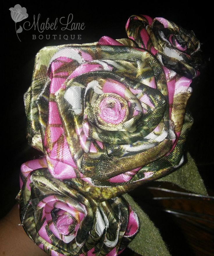 Pink Camo Fabric Rose ~ Fabric Wedding Bouquet ~Rustic Bridal Bouquet ~ Single Stem Fabric Flower ~ Pink Camo Flower ~ Pink Camo Decor by MabelLaneBoutique on Etsy