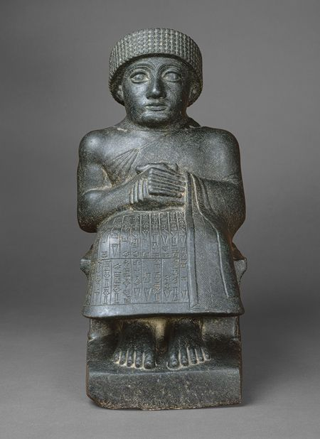 Seated statue of Gudea [Probably Tello (ancient Girsu), southern Mesopotamia] (59.2) | Heilbrunn Timeline of Art History | The Metropolitan Museum of Art