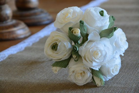 Rustic Bouquet Crepe Paper Wedding Flowers by moniaflowers on Etsy