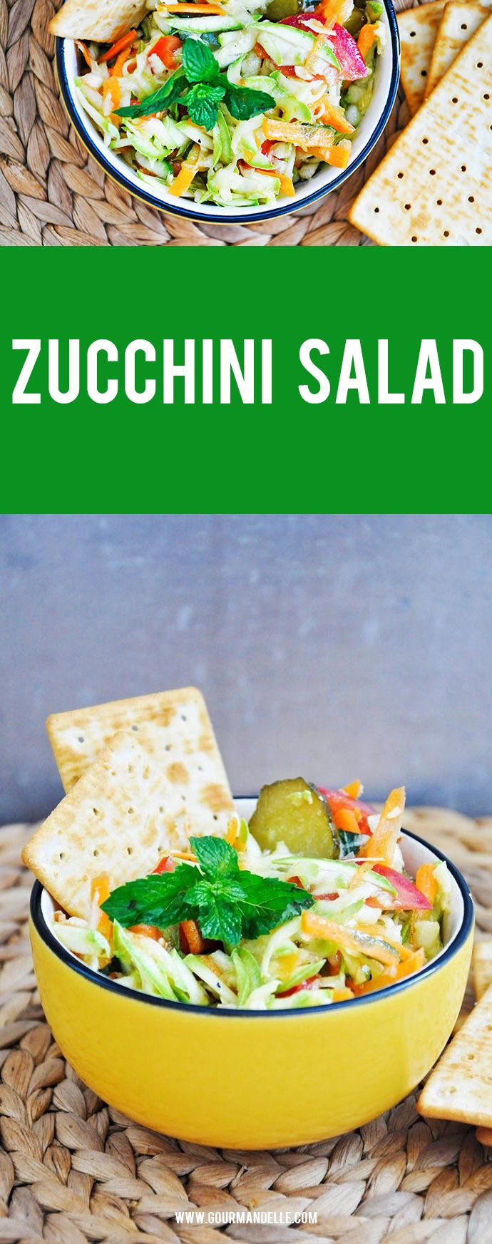Zucchini Salad - This zucchini salad with mint and pickles is inspired by one of Jamie Oliver's 15-minute healthy recipes. This quick and savory salad is raw, vegan and macrobiotic too!
