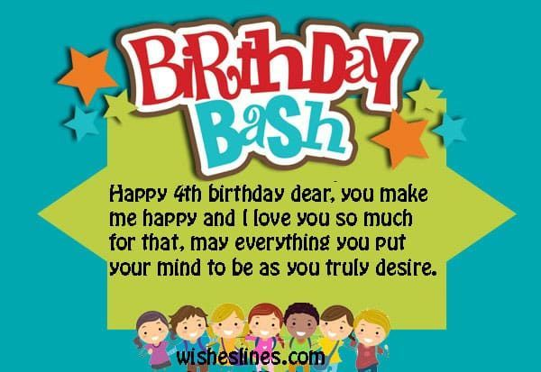 Happy 4th birthday wishes quotes and messages wish your bday baby happy 4th birthday wishes quotes and messages wish your bday baby girl boy son daughter with a beautiful birthday wish cards m4hsunfo