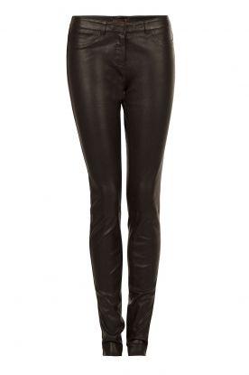 Leren 5-pocket broek Cory | zwart