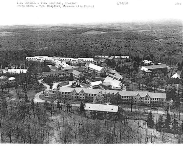 Aerial photo of Cresson Tuberculosis Sanatorium in April 1960 in Cambria County. Over the years, tens of thousands of people from throughout Pennsylvania were confined at Cresson, located about 140 miles from Harrisburg between Johnstown and Altoona. The facility has been approved for a historical marker which will be dedicated in 2014.