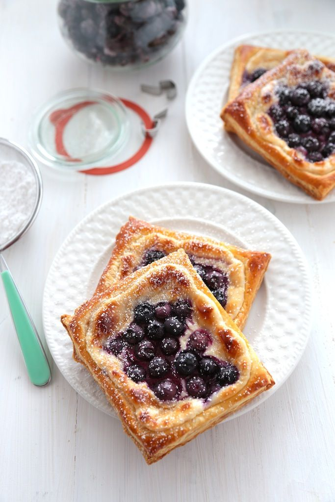These 20-Minute Blueberry Cream Cheese Danishes are perfect for breakfast or dessert, and crisp up for a breakfast on the run or something to sip with coffee.