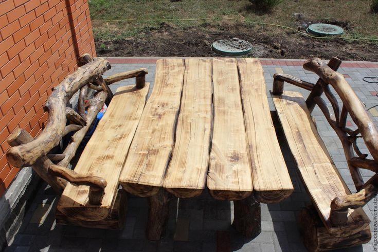 Купить Стол скамья - коричневый, на заказ, натуральный, любой цвет, старинный стиль, старинный, старение