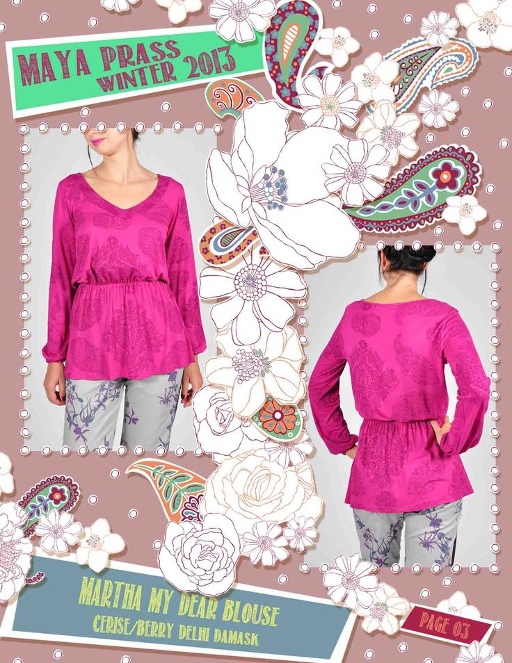 Matha-my-Dear blouse cerise Delhi Damask