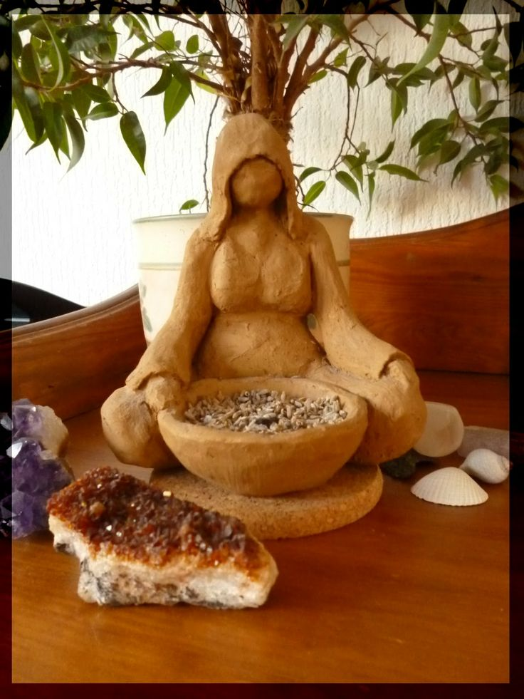 Earth Witch: Clay Earth Goddess with Offering Bowl ~ For the altar