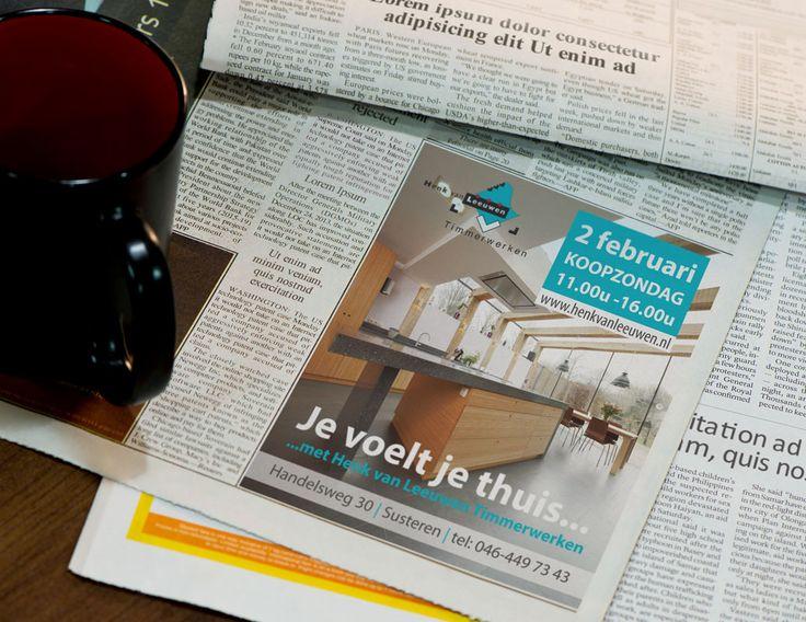 Ontwerp advertentie voor Henk van Leeuwen Timmerwerken. #advertentie #ontwerp #vormgeving