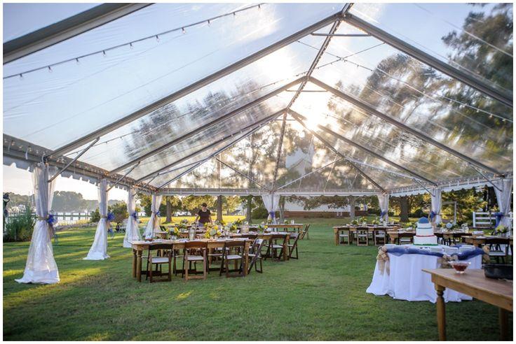 Large clear top tent at party, rehearsal dinner, or wedding. Weddings // Rehearsal Dinner for Mallory & Will Rehearsal Dinner, Yorktown, Virginia, Baseball Cake, DIY, Wedding Signs, Fancy Rehearsal Dinner, Sophisticated Rehearsal Dinner, Tented Rehearsal Dinner, Tented Party