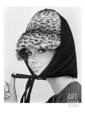 Nicole de la Marge in an Otto Lucas Jersey Scarf over an Ocelot Hat, 1964 Giclee Print by John French at Art.com