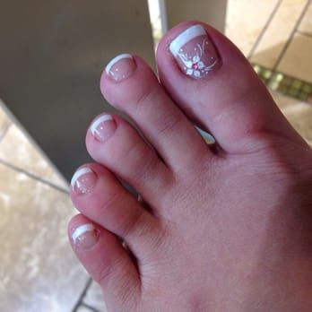 Gel French pedicure with a white flower for decor...beautiful! - Yelp
