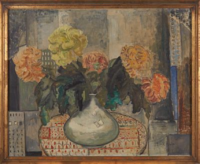 JULIE DE HOLMBERG KROHN KURSK, RUSSIA 1882 - OSLO 1956  Floral  Oil on canvas, 80x100 cm  Signed lower right: J. de H. Krohn
