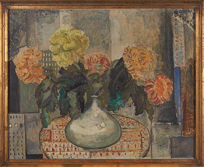 JULIE DE HOLMBERG KROHN KURSK, RUSSIA 1882 - OSLO 1956  Floral  Oil on canvas, 80x100 cm  Signed lower right: J. de H. Krohn