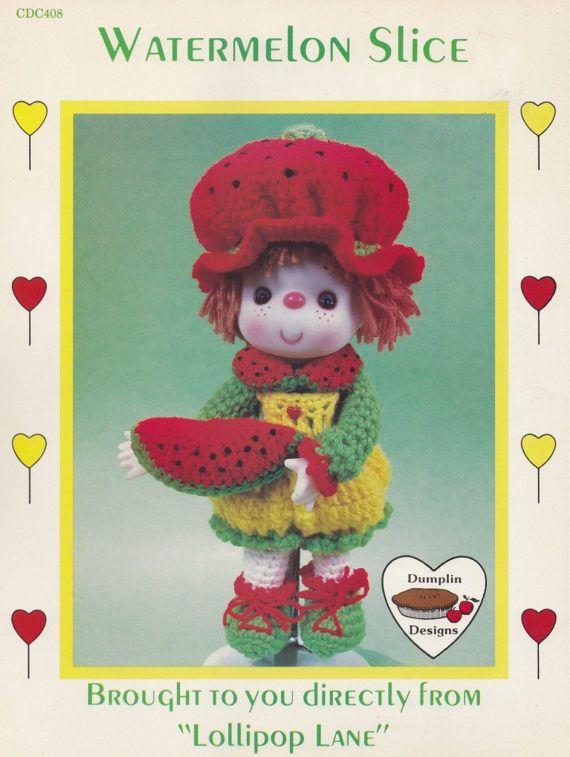 Watermelon Slice, Dumplin Designs Lollipop Lane Crochet Doll Pattern Booklet CDC408 OOP