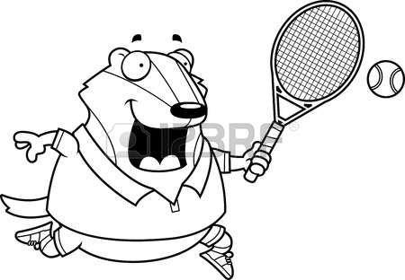 badger: A cartoon illustration of a badger playing tennis.
