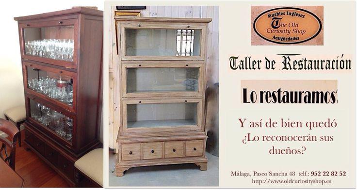 Librer a tipo globe aclarado de la madera imitando for Muebles vintage malaga