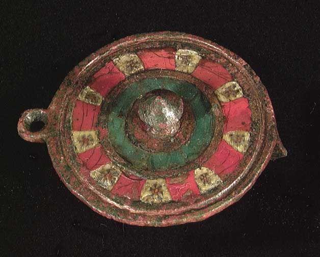 5543. A ROMAN MOSAIC GLASS INLAID FIBULA, ca. 2nd-3rd century AD. 32mm.  Antiquity Merchant