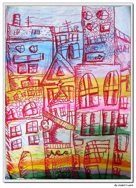 My City by Pumpkin Chief, via Flickr  watercolor and oil pastels