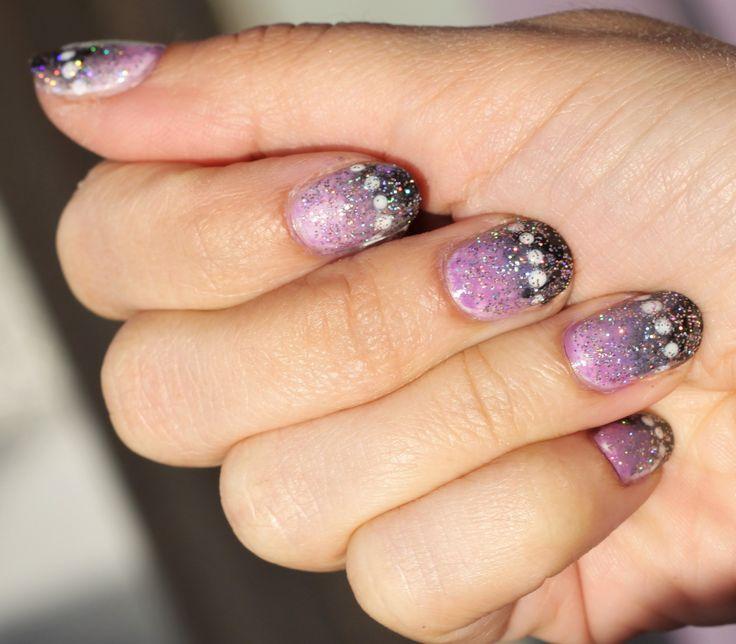 nail art mauve et noir avec vernis bikini etam n°1 n°55 et vernis Kiko n°337