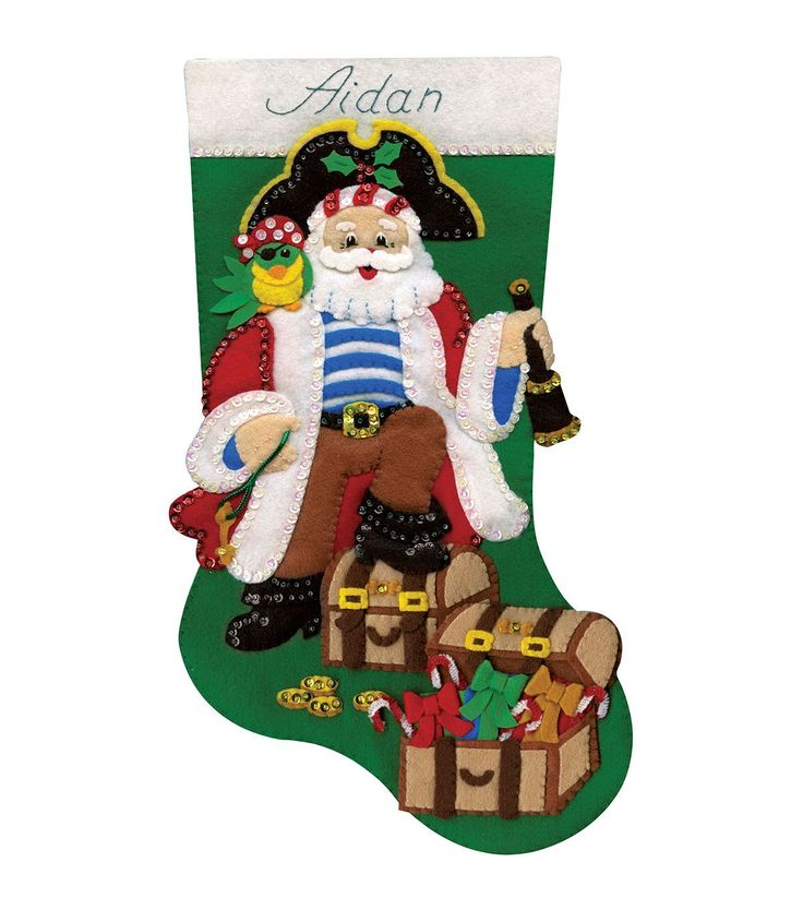Use the Tobin Design Works Pirate Stocking Felt Applique 18 to create a lovely festive stocking. The DIY felt applique stocking kit contains sequins, beads, felt, cotton floss, varied trims, patterns,
