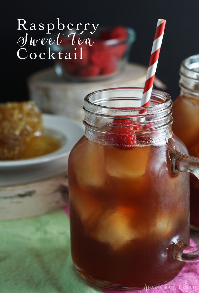 This raspberry sweet tea cocktail combines raspberry honey simple syrup, honey liqueur and bourbon with iced tea to make the perfect mixed drink! | honeyandbirch.com