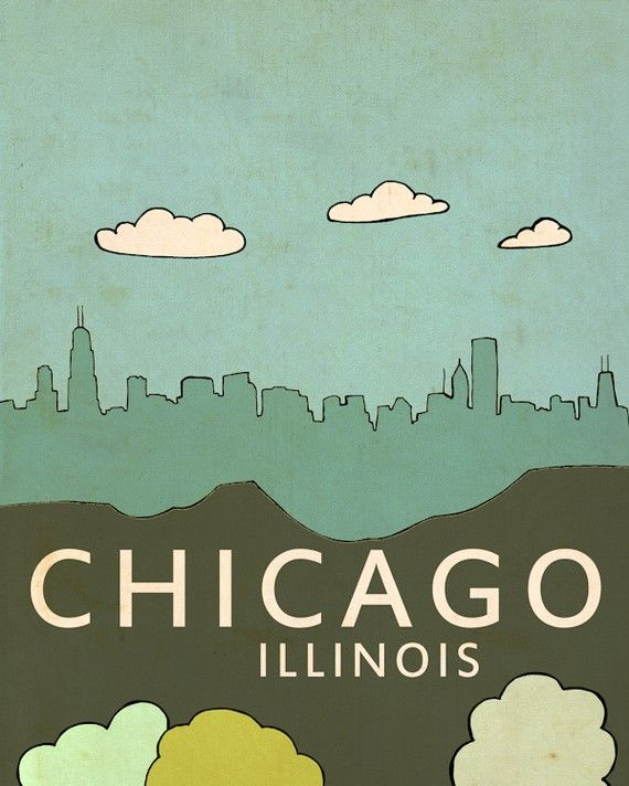 Chicago Illinois // Modern Baby Nursery Decor, Typography Poster, City Skyline, Giclee, Illustration, American Travel Theme, Digital