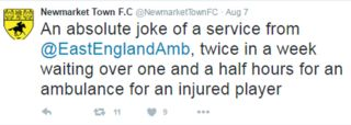 Newmarket Town footballer in three-hour ambulance wait