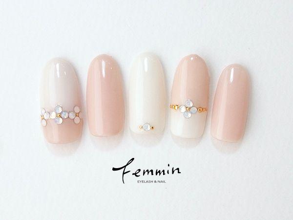 ピンクと白のバイカラーネイル|ネイルデザイン詳細|2016冬春|ネイルビューティーナビ