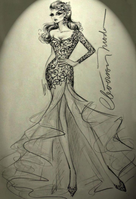 DESENHOS DE MODA: Desenho de vestido de noiva assimétrico.