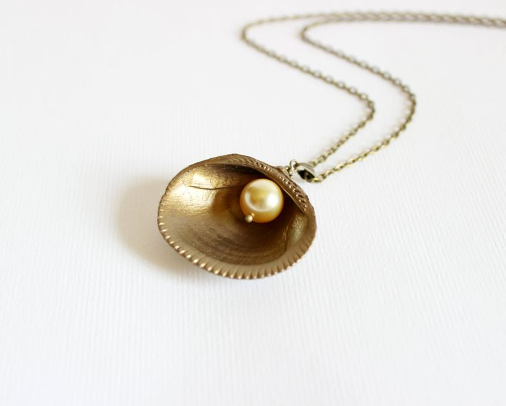 Shell Necklace, Real Shell Pendant, Bronze Necklace, Pearl Necklace, Shell with Pearl,Shell Jewelry,Nautical Jewelry,Shell,Sea Shell Pendant by NaTavelli on Etsy