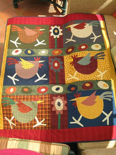 CHICKENS    I love a good Chicken Quilt...by Charlie P : ), via Flickr