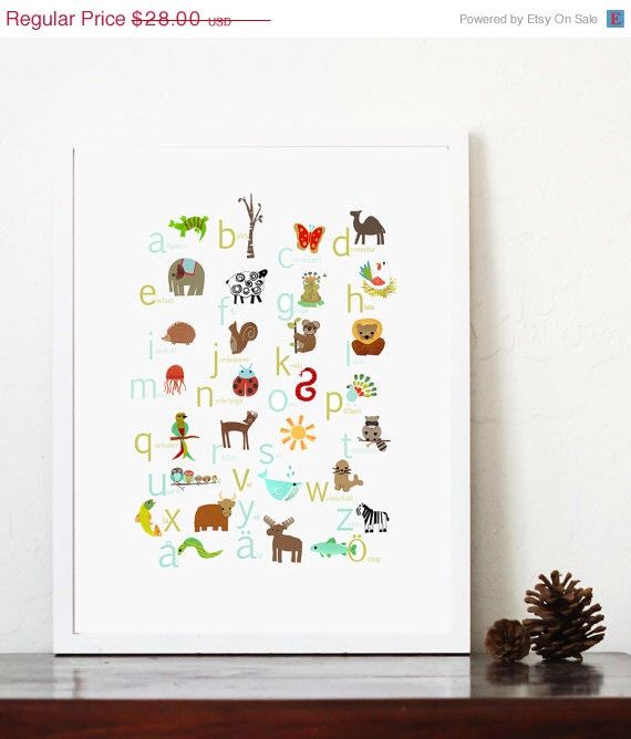 SALE 15% OFF Swedish Alphabet Poster 11x14 Nursery Art, Nursery Wall Art, Kid's Art, Kid's Decor, Gender Neutral Nursery, Nature Themed Art by ChildrenInspire on Etsy https://www.etsy.com/listing/63305469/sale-15-off-swedish-alphabet-poster