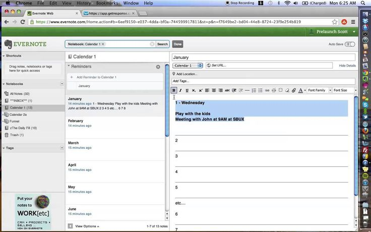 Evernote Tips: How To Create Your Own Calendar In Evernote (2 ways) #Evernote…