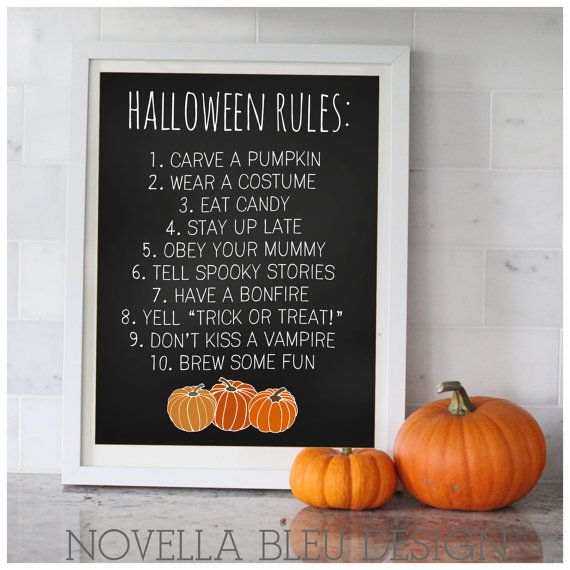 halloween rules printable art print wall art by novellableu 500 - Halloween Party Rules