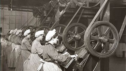 Industrialization in America created a working class of men and women. In this 1908 scene, women at the H.J. Heinz Co. plant on the North Si...
