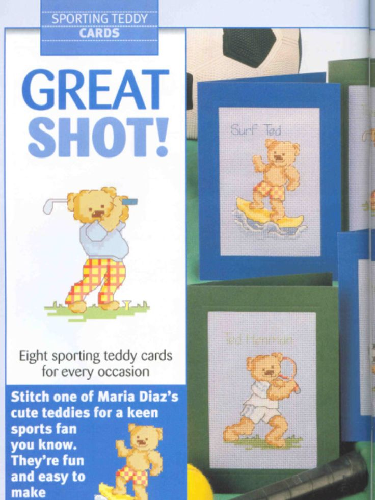 Sporting Teddy 1/2 Cross Stitch Card Shop Issue 35 March/April 2004 Saved