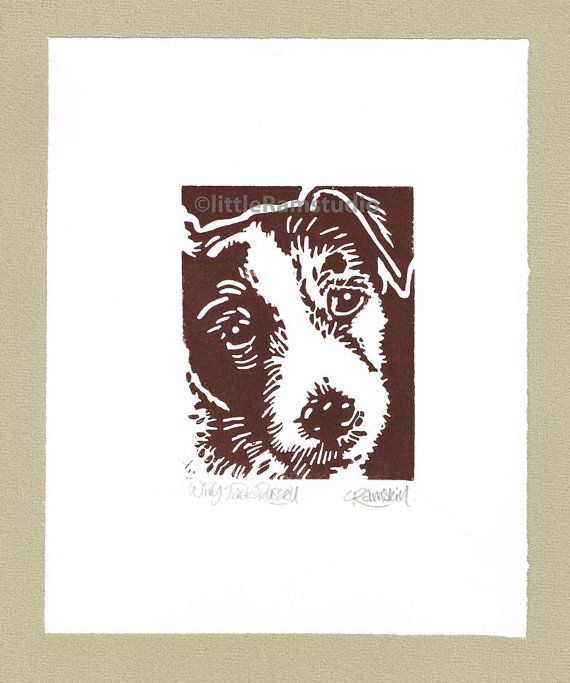 Wiry Jack Russell Dog  Linocut Original by littleRamstudio on Etsy, £15.00