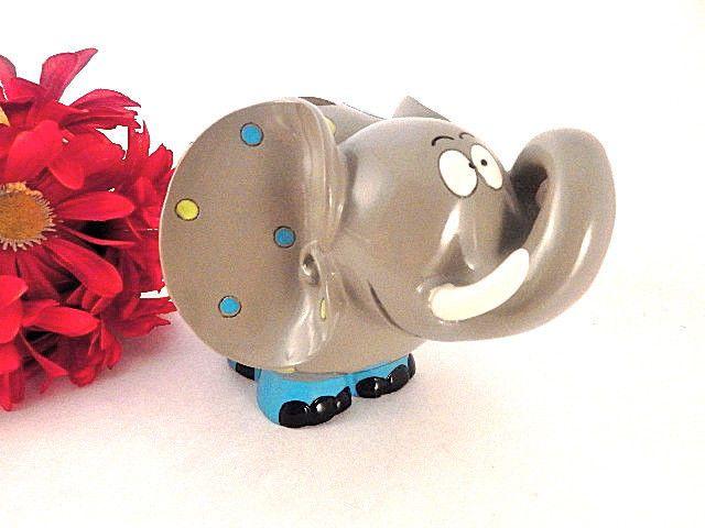 Coin Bank Elephant Figurine Childrens Money Box Whimsical Zoo Animal Piggy Bank