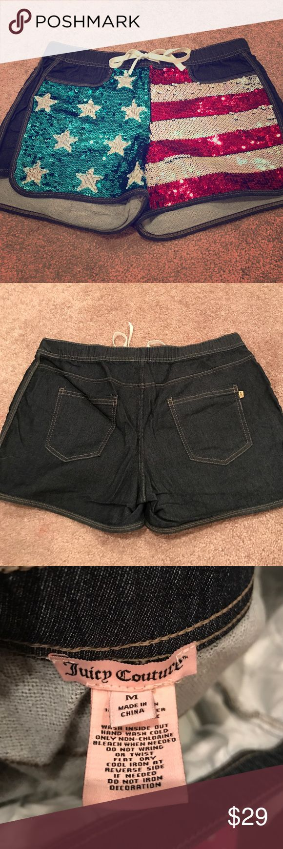 Juicy couture American shorts Super cute and perfect for July 4th! Only worn one time perfect condition Juicy Couture Shorts