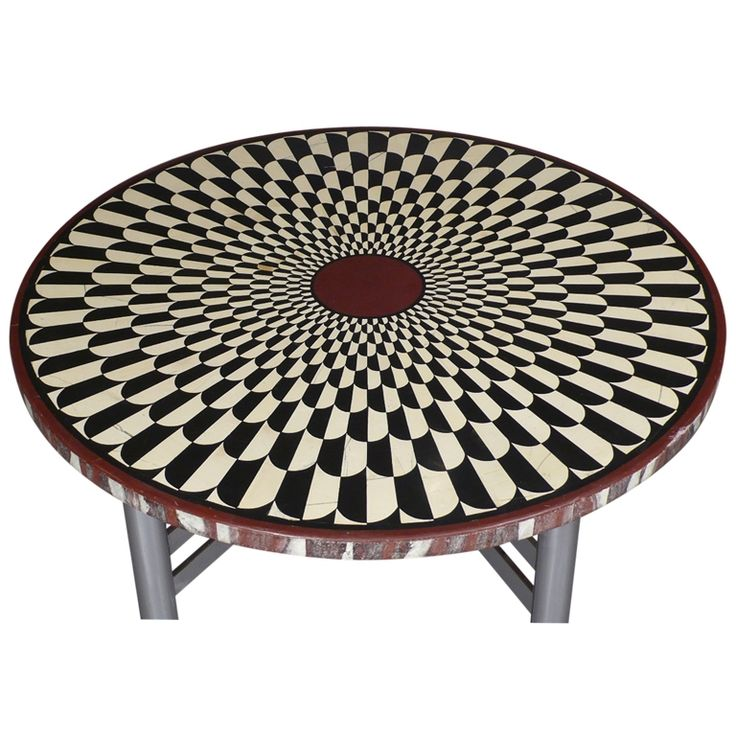 A Black White And Red Scagliola Marble Table