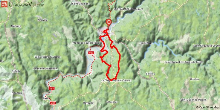 [Corrèze] Argentat- La Chapelle-Saint-Géraud Au départ d'Argentat, on longe la Dordogne avec une vue sur le Malpa, puis on monte vers la Chapelle-Saint-Géraud avec une magnifique vue sur les monts d'Auvergne. Parcours en sous-bois la plupart du temps.