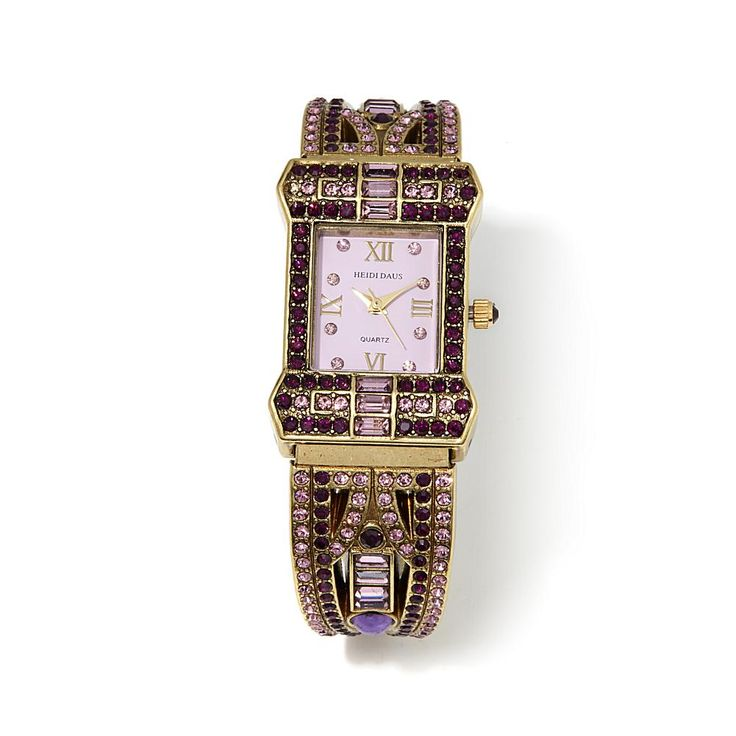 "Heidi Daus ""Sparkling Opulence"" Crystal-Accented Cuff Watch - Purple"