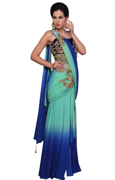 Beautiful Combination Of Blue and Sky-Blue Double Shaded Saree With Gorgeous Brooches