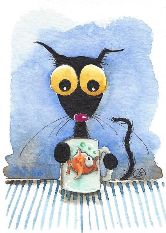 ACEO Original watercolor painting whimsical Stressie black cat gold fish cup #IllustrationArt