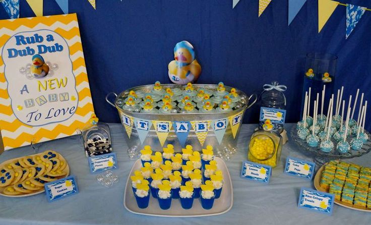 Rubber duckies and blue camo baby shower party ideas for Rubber ducky bathroom ideas