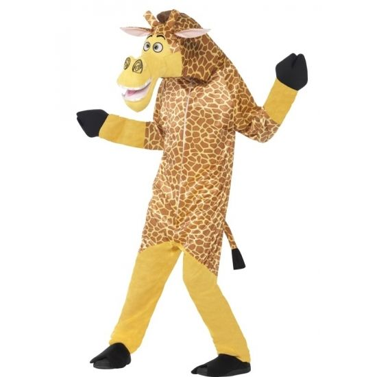 Madagascar giraffe kostuum voor kinderen. All-in-one kostuum van Melman de giraffe uit de bekende film Madagascar. Het pak is een geheel met capuchon. Materiaal: 100% polyester.
