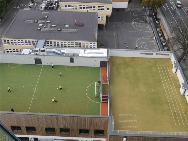 St George's School in London using Matchwinner and Nearlygrass 20 for a sports pitch and running track on their school's roof
