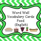 Word Wall Vocabulary Cards-Food (English)