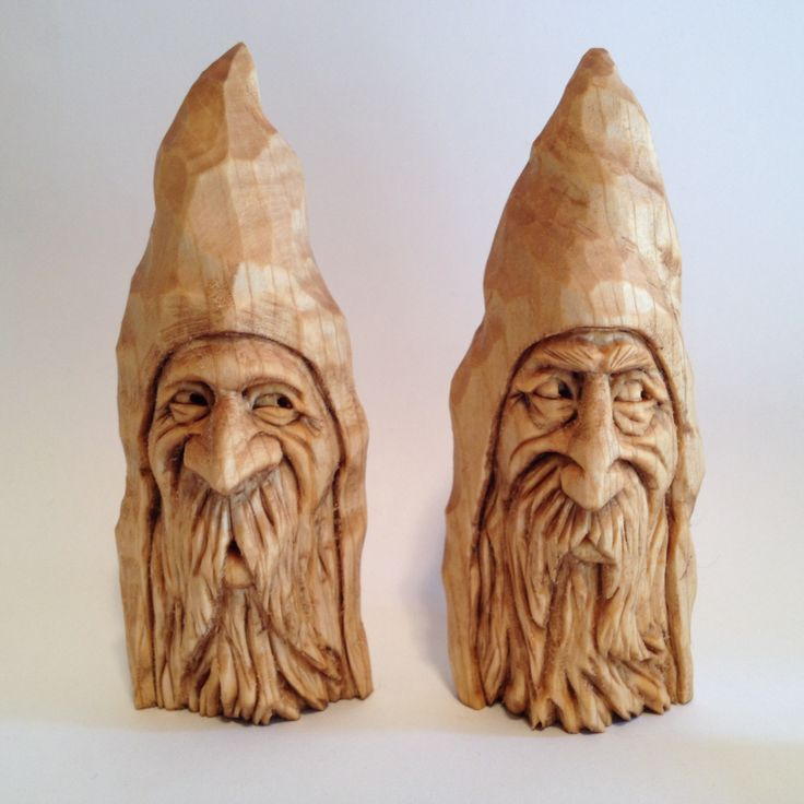 Couple of wizard wood spirit carvings by scott