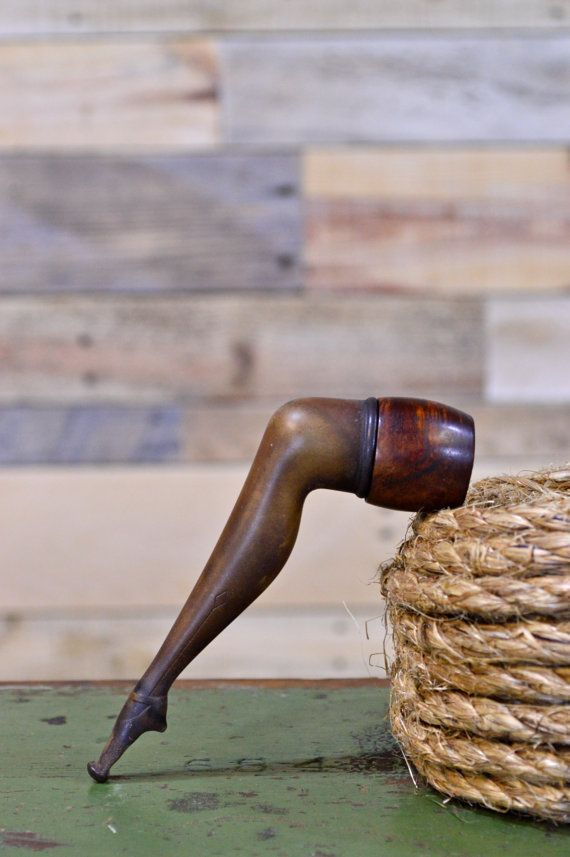 1920s French Can-Can Pipe, Vintage Leg Pipe, French Briar Pipe, Novelty Pipe